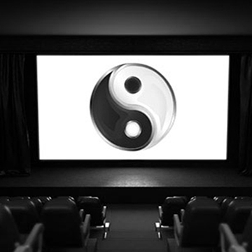 Yin/Yang symbol on screen on stage
